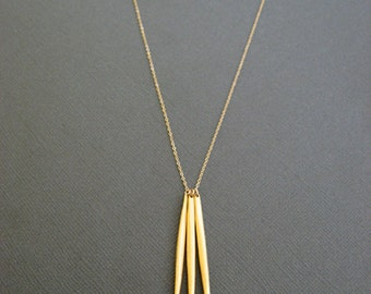 Gold Dagger Spear Needle Necklace, 3 spear necklace, long Gold layered necklace, Skinny gold vermeil needle pendant necklace
