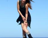 Black Pixie Dress With Points, Short Pointy Tunic Dress, Festival Summer Dress, Jersey Dress Mini