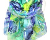 Tulips Hand Painted Silk Scarf. Anniversary Birthday Gift. Green Floral Woman Shawl. Genuine Art. Bridal Gift. 18x71in MADE to ORDER