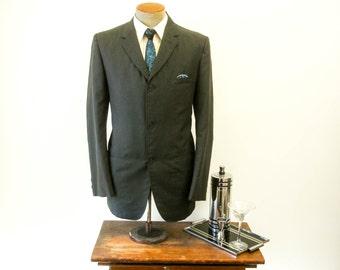 1950s 3 Button Mens Suit Jacket Black or Dark Gray Mad Men Era Mod Vintage Sport Coat / Blazer Travel-Cool by PENNEYS - Size 42 (LARGE)