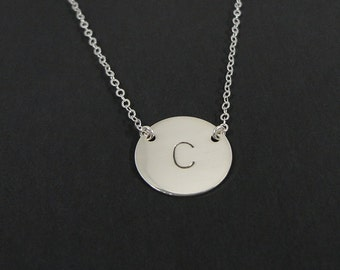 "Personalized Necklace - 5/8"" initial Disc - Celebrity Style Initial Necklace - Personalized Hand Stamped Jewelry"