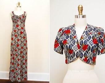 Vintage 1960s 'Gypsy Rose' Printed Maxi Dress / Floor Length / Matching Shrug /  BOHO Festival Dress / Size Sm-Med