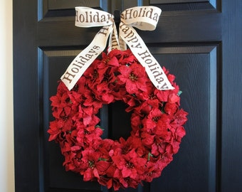 Christmas wreaths Holiday wreaths, Poinsettia door wreaths, weddings, flowers, Bethlehem star wreath, front door decorations