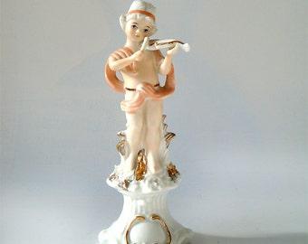 Capodimonte Figurine Young violinist , Vintage Italian Porcelain Figurine boy with violin .