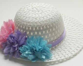 EASTER Bonnet, Child Sun Hat, Aqua Hat, Tea Party Hat, Sun Hat,  Lavender Spring Hat