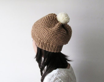 Hand Knitted Hat in Camel - Beanie with Cream Pom Pom - Slouch Seamless Hat - Winter Hat - Wool Blend - Made to Order
