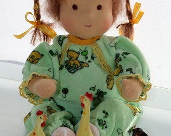 "Waldorf doll classic 13-14"" inches, Baby with pigtails for children from 2 years - A gift for birthday - girl"