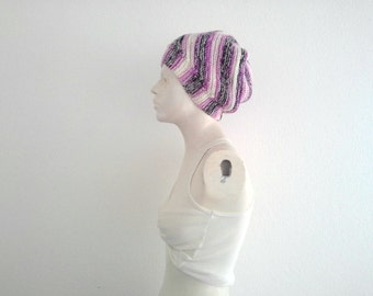 Pippis Vortex Slouchy Beanie, Handknit Womens Multicolor Hat, Vegan Colorful Beanie, Warm and Cozy, Winter Fashion, OOAK Gift, for Her, Boho