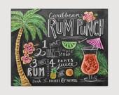 Recipe Art - Chalk Art - Kitchen Wall Decor - Summer Print - Tropical Art - Chalkboard Art - Illustrated Print