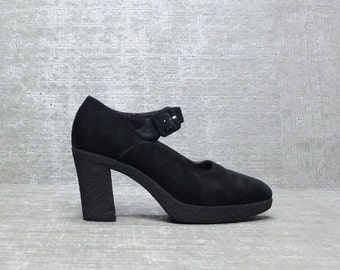 Vtg 90s Black Suede  Lolita Strappy Platform Mary Jane Pumps 8 1/2 8.5