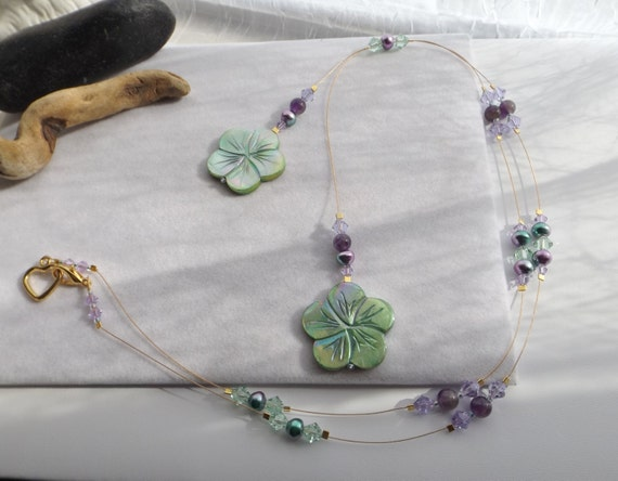 Lariat Floating Bead Necklace with Green Hawaiian Shell Flower Pendants, Pearls, Swarovski Crystals and Amythest