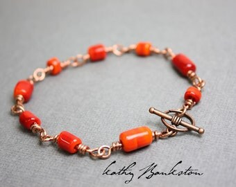 Orange Bracelet, Orange Lampwork Bracelet, Orange Beaded Bracelet, Handmade Bracelet, Orange Jewelry, Kathy Bankston, Beaded Bracelet