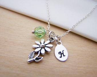 Dainty Daisy Flower Charm Swarovski Birthstone Initial Personalized Sterling Silver Necklace / Gift for Her