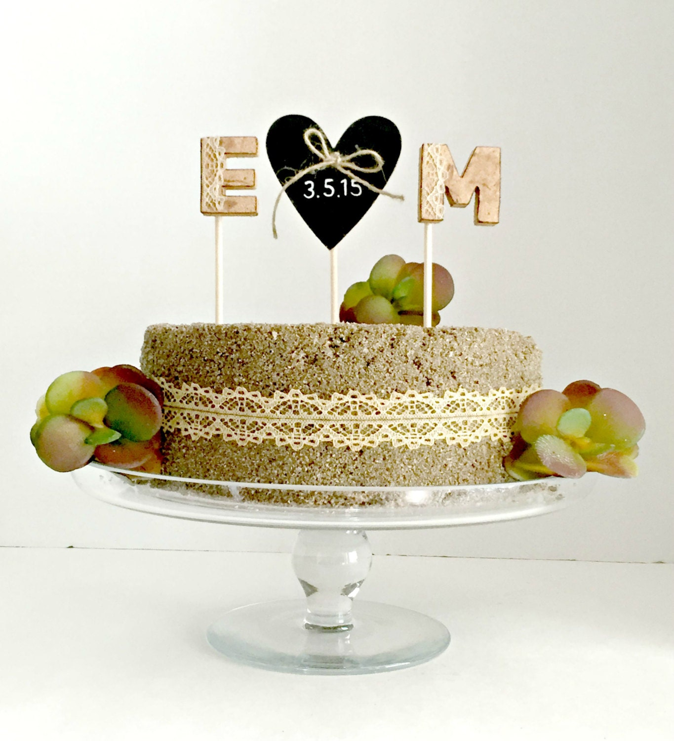 Monogram rustic cork wedding cake topper with chalboard heart