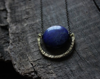 lapis lazuli necklace gold,hammered brass half moon necklace,Geometric necklace,long bohemian necklace,minimal necklace,egyptian necklace