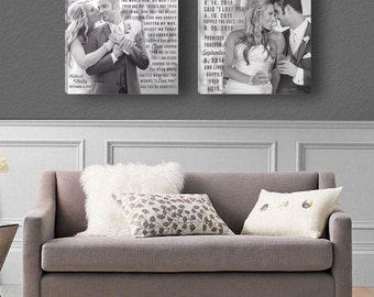 Two Square Canvases with Song Lyrics and Relationship Milestone Dates