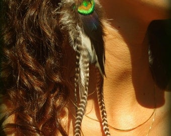 Gypsy unique han made cruelty free black and white long single feather earring wrapped with beads and black thread