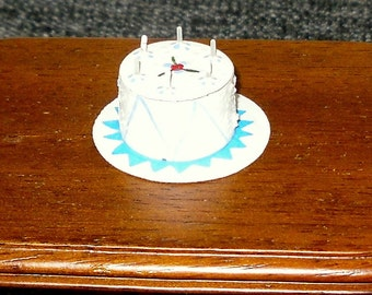 SALE 5.00 Dollhouse miniature white Birthday cake