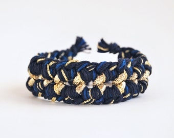Woven chain bracelet, chunky chain bracelet, chunky statement bracelet in navy blue