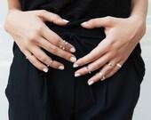 Industrial Crystal Rings - set of 4 crystal stack rings, Swarovski silver rings