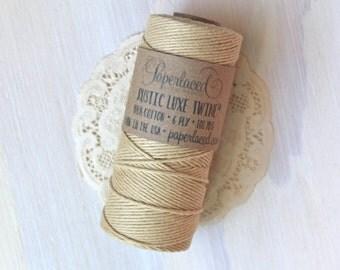 Kraft Rustic Luxe Twine 100 Yards, Rustic Bakers Twine, Brown Twine, Cotton Twine, Kraft Twine, Gift Packaging, Gift Wrap, Rustic Wedding