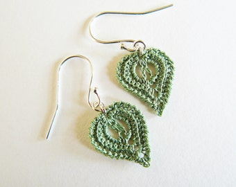 Green Crochet Leaf Earrings
