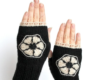 Knitted Fingerless Gloves, Black, Ivory,Clothing And Accessories, Gloves & Mittens, Accessories,Gift Ideas