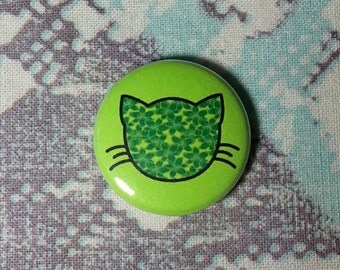 Floral Lily Cat Neon Green Button or Magnet