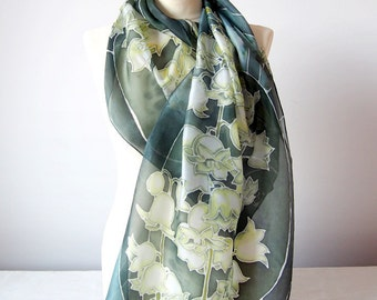 Silk scarf Lily of the Valley - May lily scarf - white flowers scarf - handpainted silk scarves - dark green scarf - may bells - art nouveau