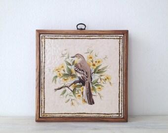 Vintage Wall Decor Ceramic Framed Italian Tile With A Bird