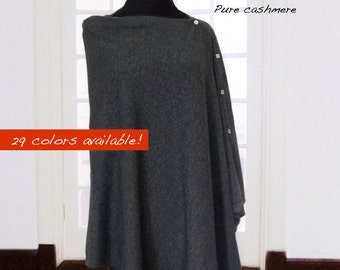 Custom made pure cashmere poncho with buttons / Pure cashmere poncho / Pure cashmere shawl / Pure cashmere scarf
