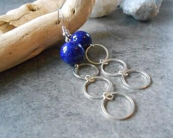 Earrings Egyptian blue ball, silver circles