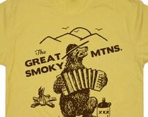 The Great Smoky Mountains T Shirt Smokey Bluegrass Bear hiking camping climbing Funny Camping Mens Womens Kids National Park Tees