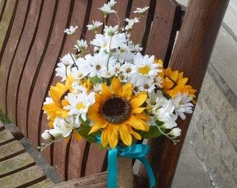 Sunflower and Daisy Silk Bridal Bouquet / Country Wedding / Rustic Wedding / Silk Wedding Flowers / Teal and Sunflowers / Sunflower Wedding