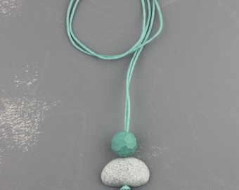 Turquoise grey polymer clay pendant necklace, pebble, circle, geometric fimo jewelry