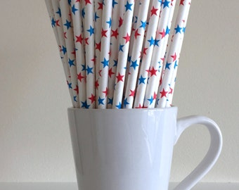 4th of July Straws Red, White, and Blue Star Paper Straws July 4th Patriotic Party Supplies Party Decor Bar Cart Accessories Graduation