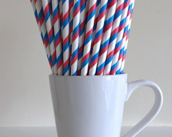 4th of July Straws Red, White, and Blue Striped Paper Straws July 4th Patriotic Party Supplies Party Decor Patriotic Bar Cart Graduation