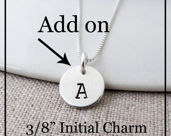 "Add A Charm, 3/8"", Any Initial, Sterling Silver"