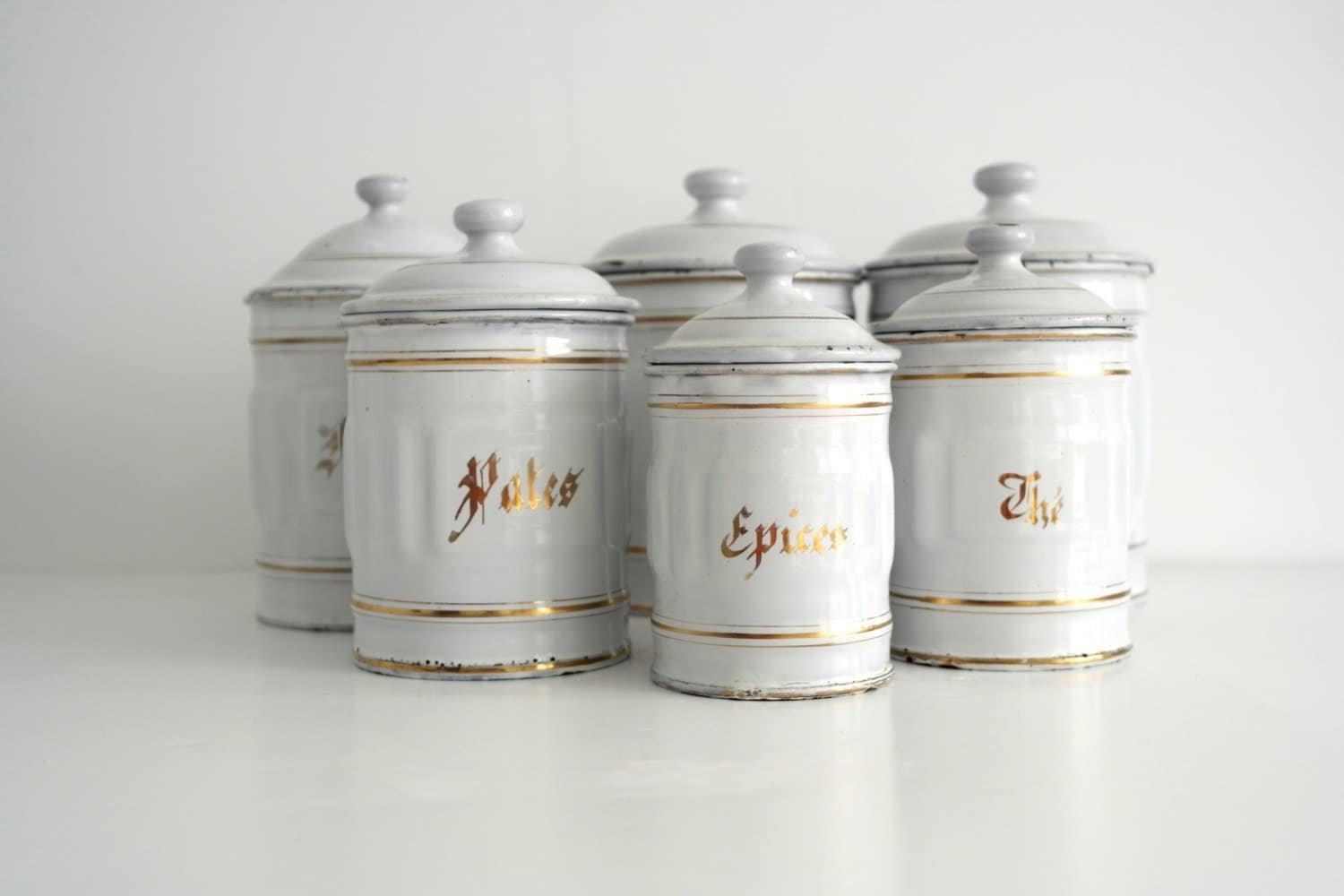 French 6 Large Size Enamelware Canisters Kitchen Pots Spice