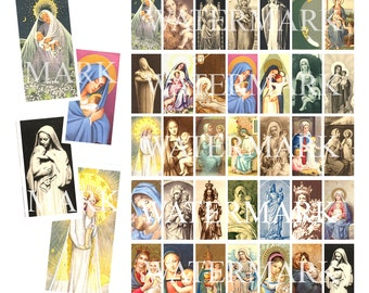 "Madonna and Child - Mary Digital - Catholic Holy Nativity Paintings Statues - Domino Digital Collage Sheet 35 images 1x2""  25mm x 50mm"