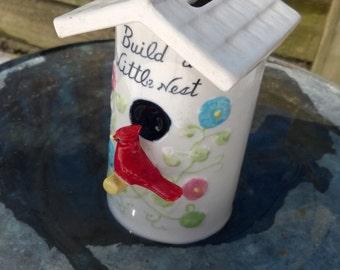 Birds Nest Bank Birdhouse red robin porcelain gift