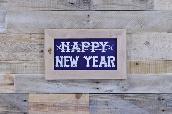 Vintage Happy New Year Sign, Old Drug Store Sign, Antique Silk Screen Printed Sign