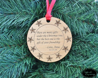 Custom Christmas Ornament - Personalized Engraved Holiday Ornament - Engraved Wood or Acrylic Ornament - Stocking Stuffer, Holiday Gift