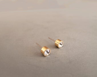 Tiny 5mm Gold with Crystals Stud Earrings - Hypoallergenic Surgical Steel Posts