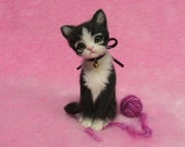 Needle Felted Soft Black & White Kitten with a yarn ball: Miniature Wool Felt Cat, Needle Felting