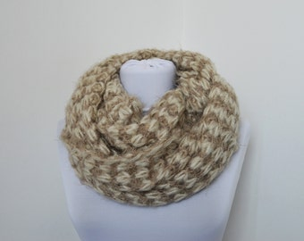 CLEARANCE SALE - Beige Knit Scarf - Infinity Scarf - Loop Scarf - Circle Scarf    811