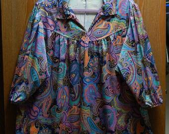 "Joro Womens 60"" Bust (34W - 36W) Paisley Print Long Blouse/Top/Shirt"