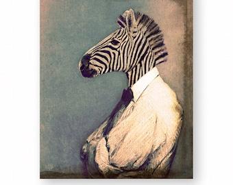 "Zebra Art Print Animal Art Anthropomorphic Animals In Clothes Nursery Decor Children's Art Mixed Media Collage (3 sizes) ""Zebediah"""