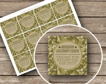 Army Camo Gift Bag Tags Printable Mission Accomplished   Military Birthday Party   Boot Camp   Camouflage   Boys Birthday Digital File