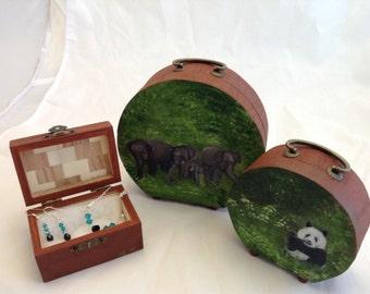 Elephants Grazing - Wild Life on Wooden Box - Original Painting